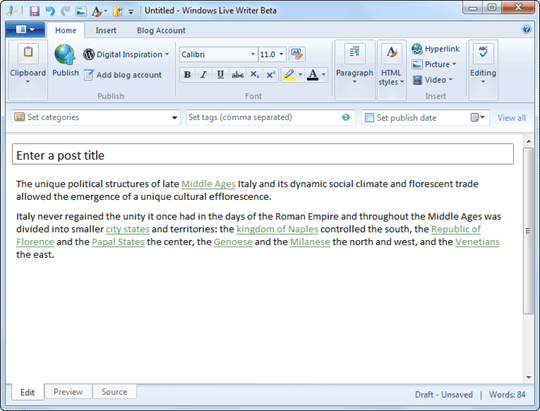 Windows Live Writer - Main Window