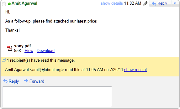 how to send email with read receipt