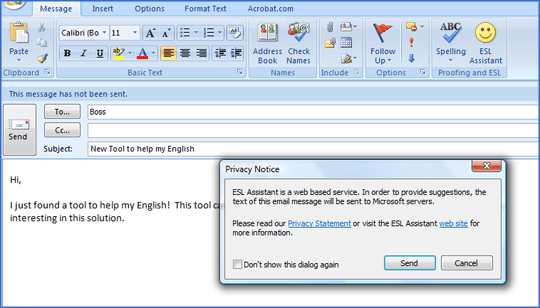 check english in outlook