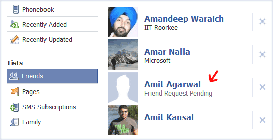 Pending Friend Requests