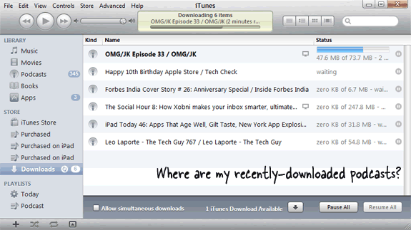recently downloaded podcasts