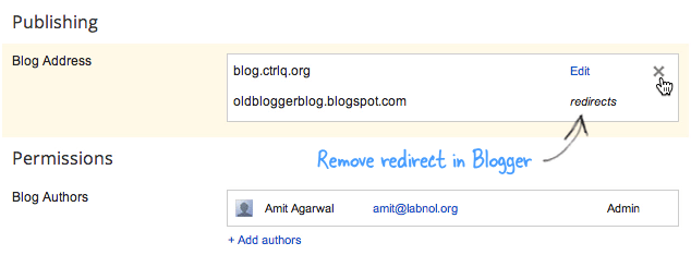 Remove Redirect in Blogger