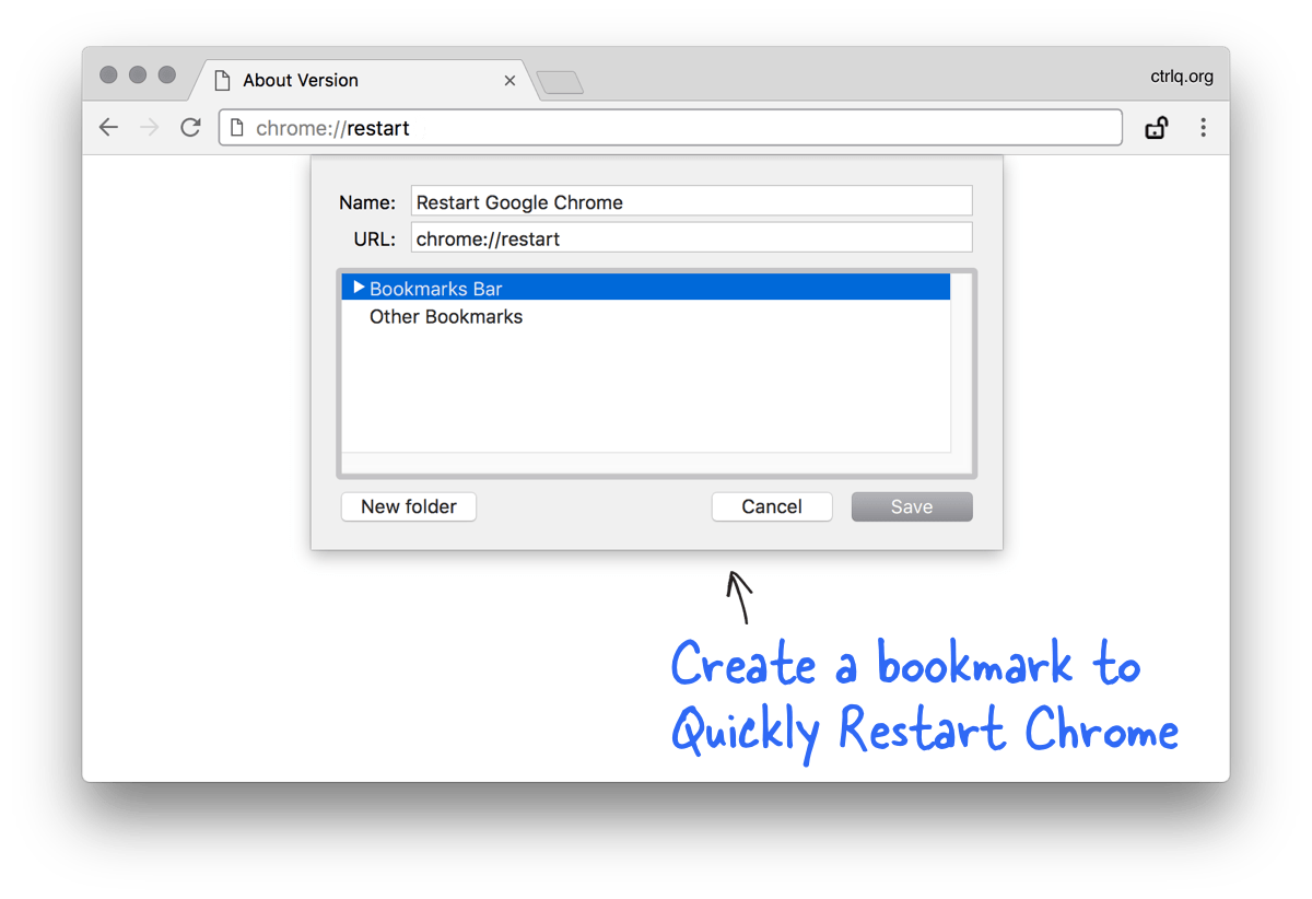 Bookmark to Restart Google Chrome