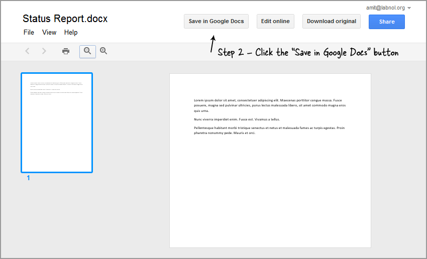 Save in Google Docs