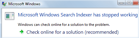 windows search indexer error