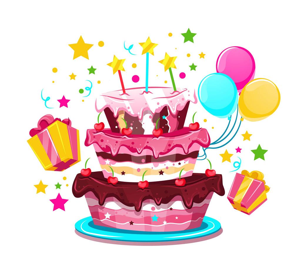 卡通生日蛋糕和禮盒矢量素材_食品果蔬_懶人圖庫