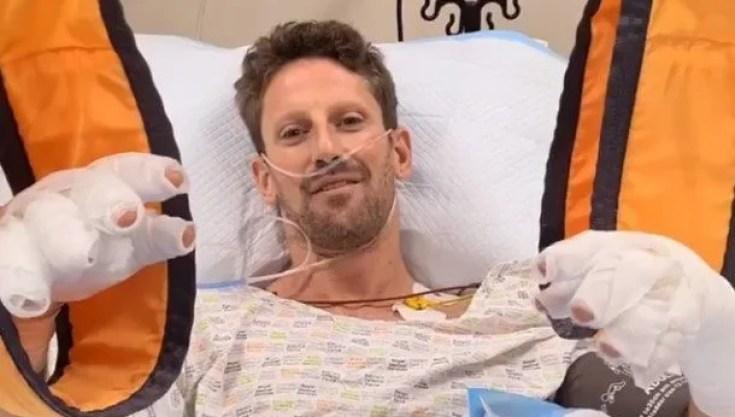 """El mensaje de Romain Grosjean desde el hospital: """"Si no fuera por el halo  ahora no estaría aquí"""""""