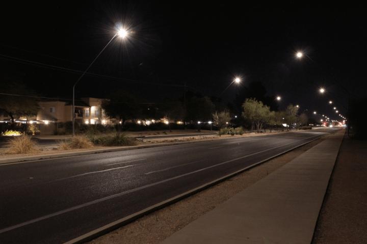 led street lights on sky glow
