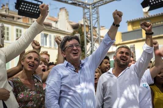 Jean-Luc Melenchon lors de la clôture des des AmFIs d'été de la France insoumise, Marseille, dimanche 27 août.