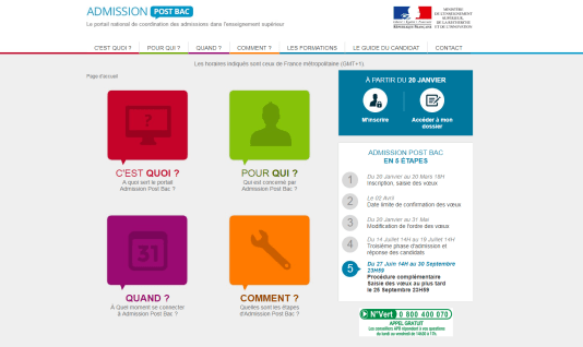 L'ancien site Internet d'Admission post-bac.