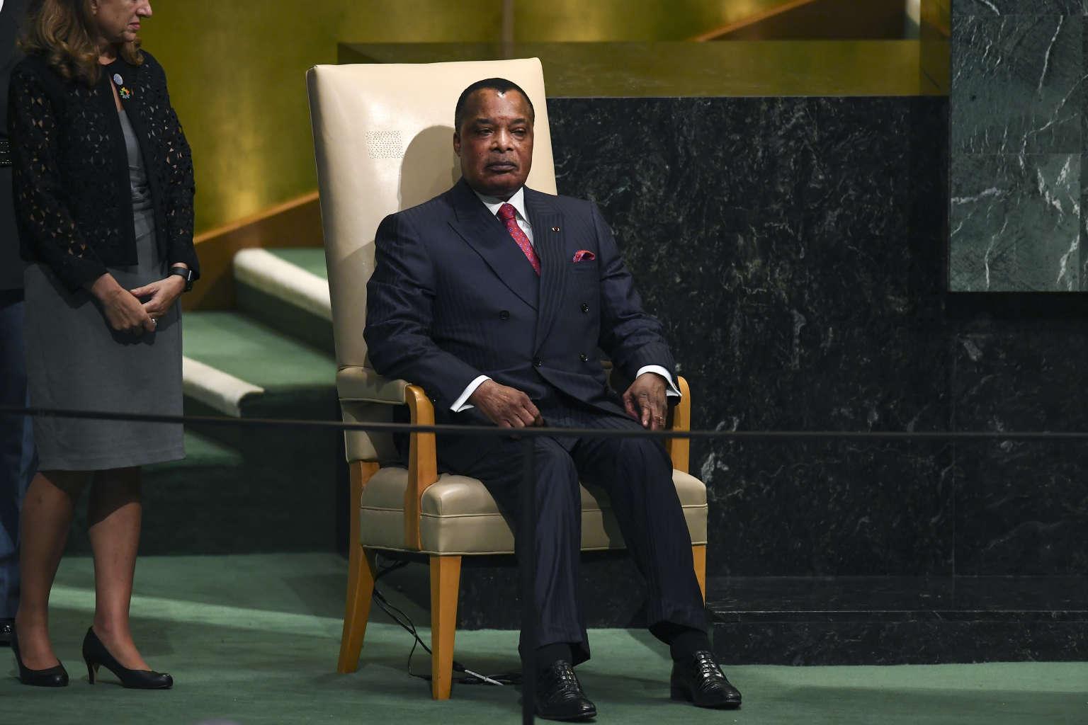 Le président du Congo-Brazzaville, Denis Sassou-Nguesso à l'ONU en septembre 2017.