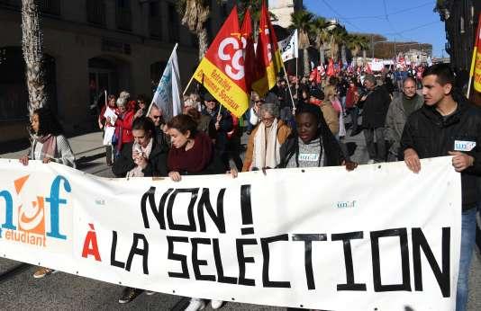 Mobilisation contre la sélection à l'université, le 16 novembre 2017, à Montpellier.