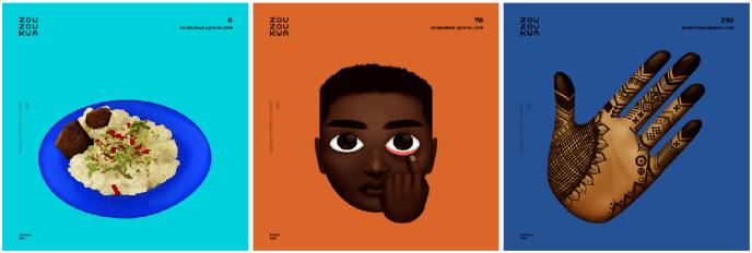 Trois« zouzoukwa» créés par O'Plérou Grebet.