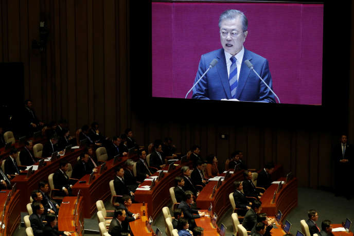 South Korean President Moon Jae-in presents his budget for 2019 to the National Assembly in Seoul on November 1.