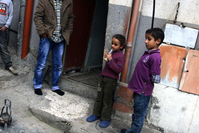 Des enfants de réfugiés palestiniens, ayant fui camp de Yarmouk, en Syrie, in the camp de Beddawi, au Liban, en 2012.