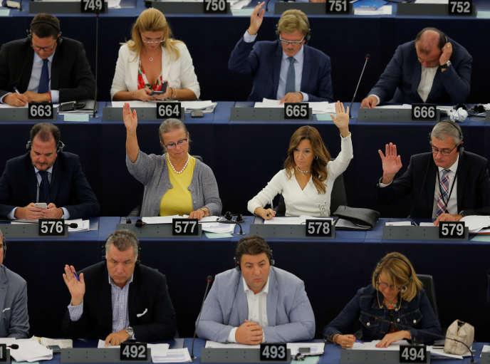 Lors du vote de la directive sur le droit d'auteur, au Parlement européen de Strasbourg, 12 septembre.
