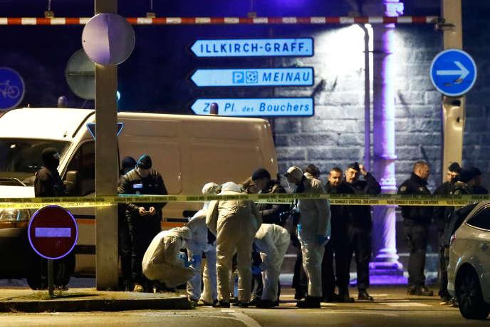 A proximité de l'endroit où a été tué Cherif Chekatt, àStrasbourg, le 13 décembre 2018.