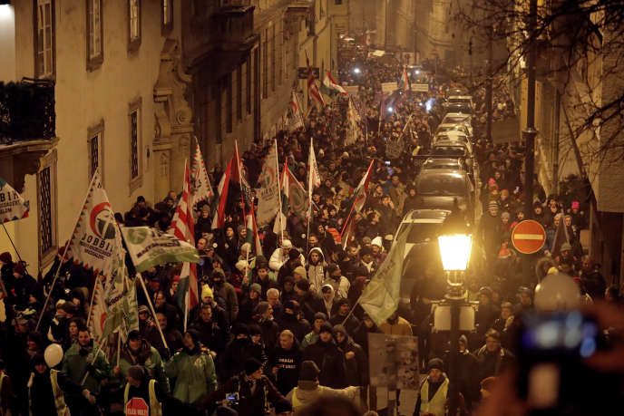 On Friday, December 21, the Hungarians protest against the reform of labor law by the Orban government in Budapest.