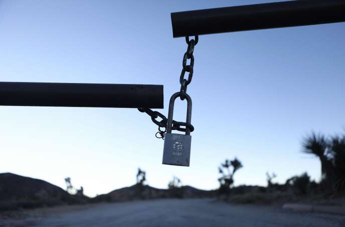 The entrance to a campsite is closed on January 4 at the Joshua Tree National Park in California.