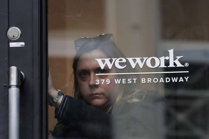 The entrance of a coworking room in WeWork, New York, January 8.