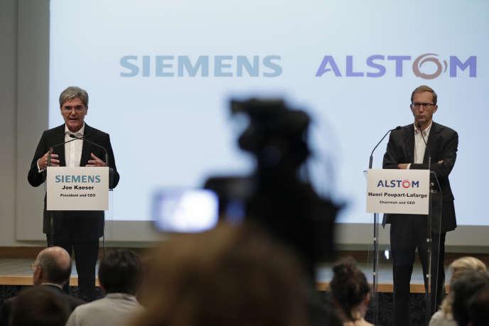 Siemens CEO Joe Kaeser and Alstom CEO Henri Poupart-Lafarge in Paris in September 2017.
