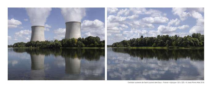 Centrale nucléaire deSaint-Laurent-desEaux:à gauche une photo «normale», un enregistrement d'un paysage avec la centrale.Adroite :une photo «fictionnelle», retravaillée numériquement, pour illustrer l'idée :«àquoi ressemblerait ce même paysage sans la centrale».