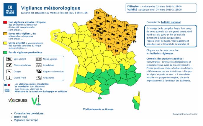 Alerte aux vents violents lancée par Météo France pour lundi 4 mars.