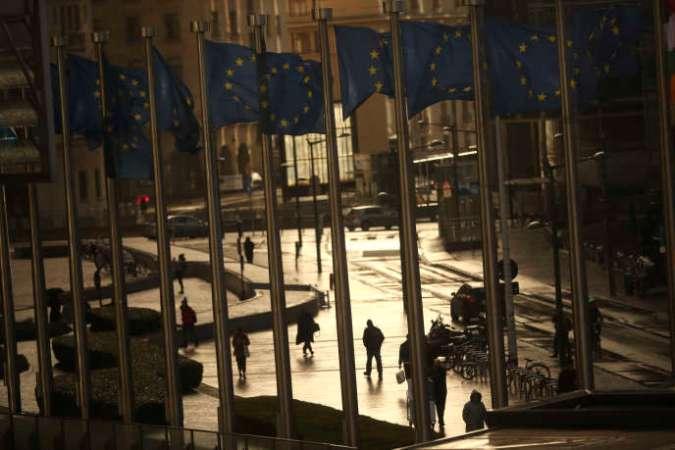 A Bruxelles, devant les bureaux de la Commission européenne, le 7 mars.