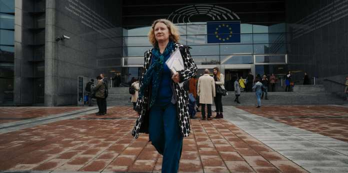 MEP Judith Sargentini leaves the European Parliament for a luncheon on the Organization for Economic Co-operation and Development in Brussels, Belgium on 2 April 2019.