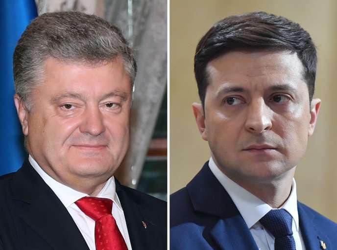 Le président sortant Petro Porochenko (à gauche) et le gagnant du premier tour de l'élection présidentielle, l'acteur comique Volodymyr Zelensky (à droite).