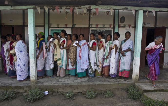 In a polling station in Majuli, in the Indian state of Assam, on April 11.