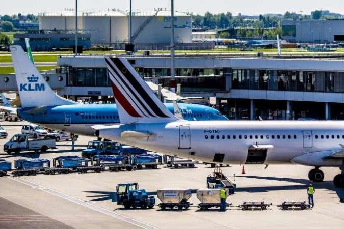 Des avions d'Air France et de la KLM, sur le tarmac de l'aéroport de Schiphol, à Amsterdam, en mai 2018.