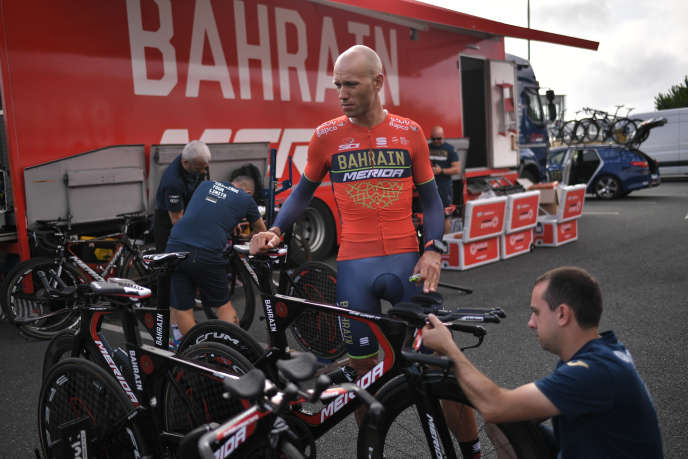 Slovenia's Kristjan Koren of the Bahrain-Merida team in Cholet during the Tour de France 2018.