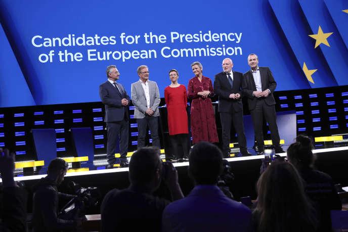 Jan Zahradil, Nico Cue, Ska Keller, Margrethe Vestager, Frans Timmermans et Manfred Weber (de gauche à droite) avant un débat à Bruxelles le 15 mai.