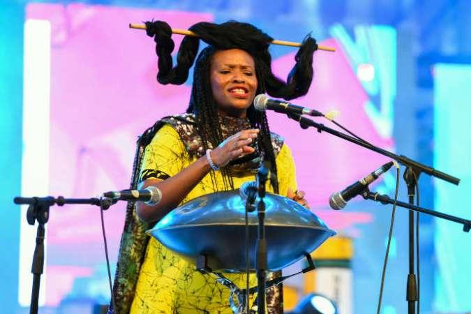 La chanteuse d'opéra Helen Epega lors du festival de percussion d'Abeokuta, dans le sud-ouest du Nigeria, le 25 avril 2019.