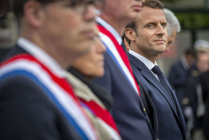 Emmanuel Macron during a commemoration ceremony at the prison of Caen (Calvados), on June 5th.