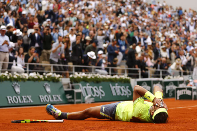 Spaniard Rafael Nadal, after his victory over Austria's Dominic Thiem at Roland Garros in Paris on 9 June.