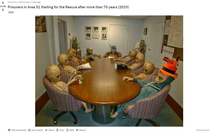 """Prisoners in Area 51, soon free after 70 years of waiting"" - photo captioned by a Reddit user."