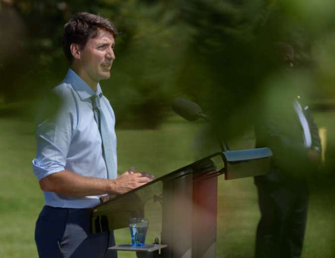 Le premier ministre canadien, Justin Trudeau, à Niagara-on-the-Lake, dans l'Ontario, le 14 août.