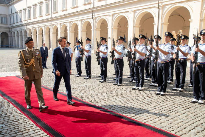 Italian Prime Minister Giuseppe Conte on his arrival at the Quirinal Palace in Rome on 29 August.