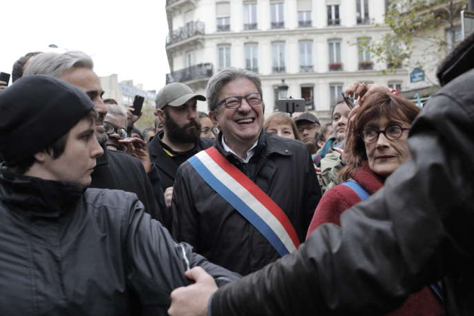 """Jean-Luc Mélenchon, during the march """"Stop Islamophobia"""" in Paris, Sunday, November 10."""