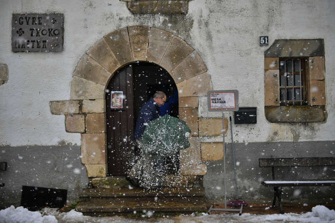 A man arrives at a polling station in the commune of Viscarret-Guerendiain, in the Spanish Pyrenees, on Sunday, November 10th.