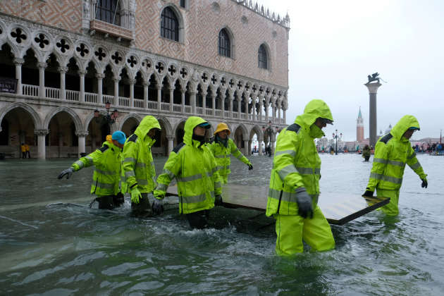 In the flooded St. Mark's Square.