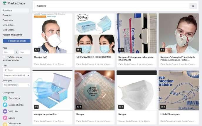 Lundi en fin de matinée, on trouvait toujours des annonces pour des masques médicaux sur Facebook.