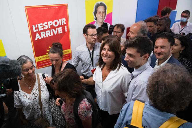 The mayoral candidate of the Marseilles Spring Michèle Rubirola (center) celebrates her victory after the second round of the municipal elections, in Marseille, on June 28, 2020.