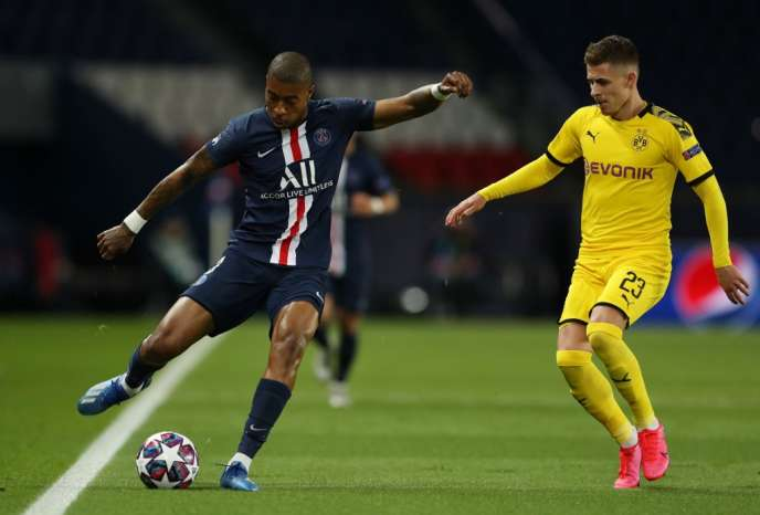 Presnel Kimpembe against Thomas Hazard, during PSG-Dortmund (round of 16 of the Champions League), March 11, 2020, at the Parc des Princes.