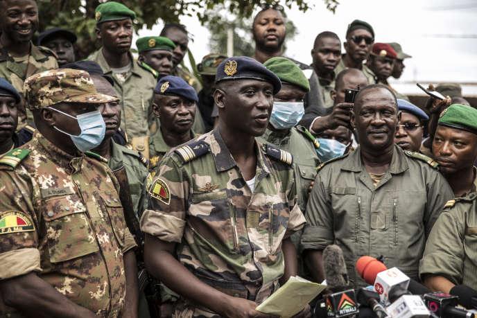 Le colonel-major Ismaël Wagué, le 19 août à Bamako.