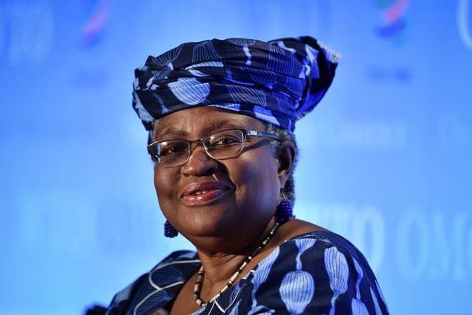 La Nigériane Ngozi Okonjo-Iweala en lice pour le poste de directrice générale de l'Organisation mondiale du commerce (OMC), ici à Genève,le 15 juillet 2020.