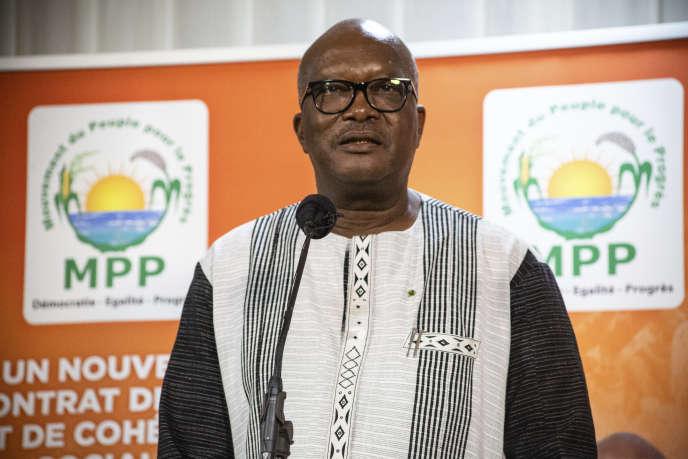 Le président du Burkina Faso, Roch Marc Christian Kaboré, à l'annonce des résultats, le 26 novembreàOuagadougou (Burkina Faso).