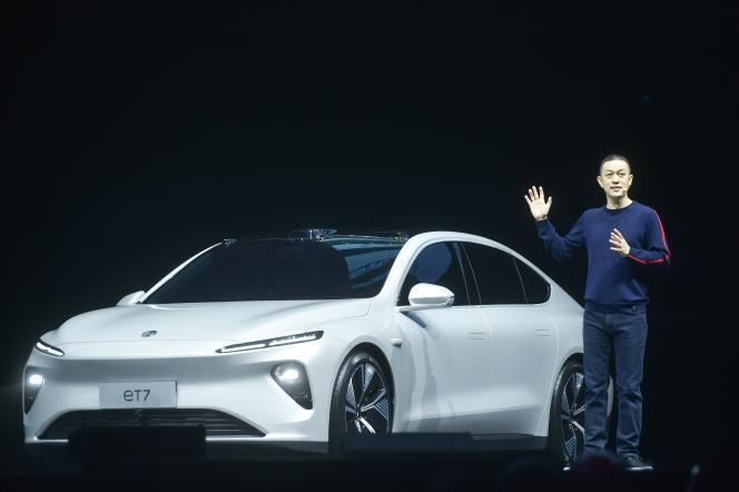 William Li, le PDG de Nio, présente le modèle ET7, à Chengdu, le 9 janvier.